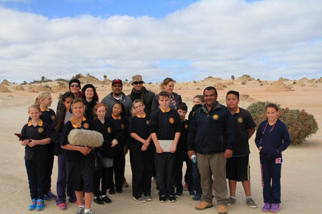 Mildura Primary School students learning on country with Elders at Lake Mungo