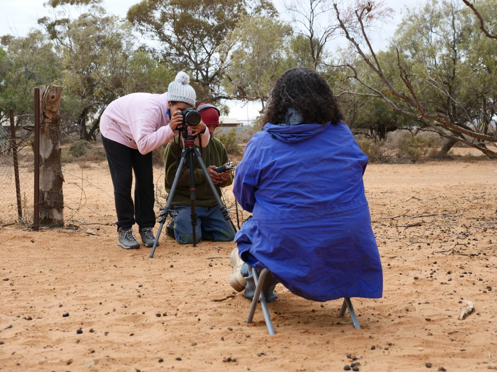 Leanne Mitchell and Darryl Pappin recording a Welcome to Country and Lake Mungo with Tanya Charles