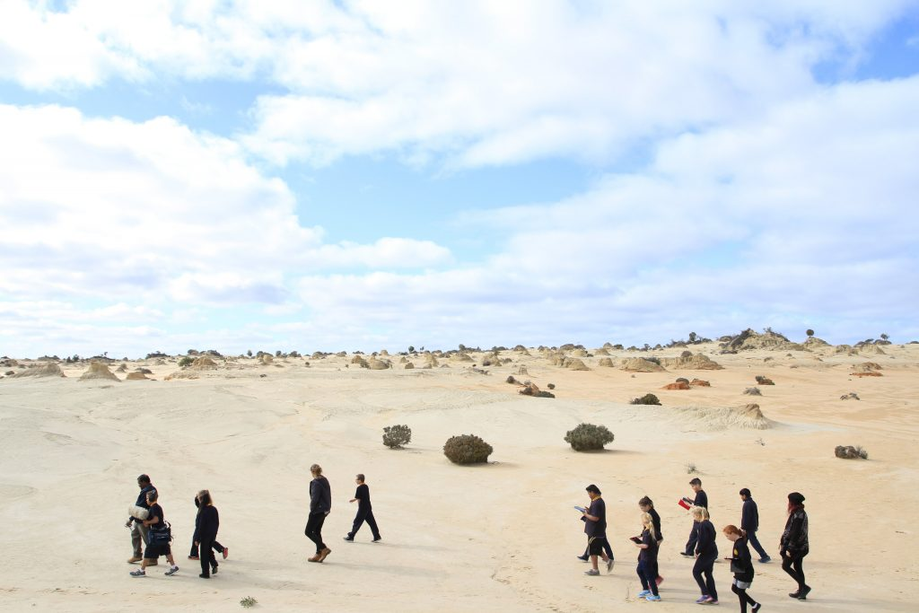 Students involved in the SSF program from Mildura Primary visiting Lake Mungo area with senior custodians and the Discovery Rangers to learn cultural stories on Country