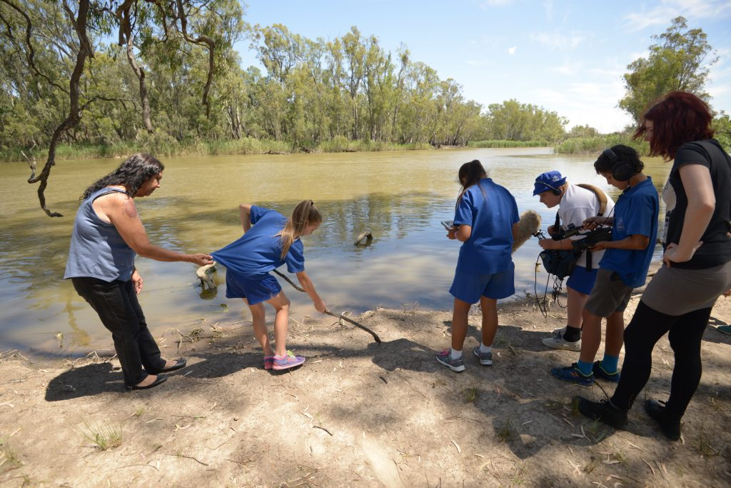 Bangerang Students on Country learning stories about the Creation of the Murray from Aunty Merle Atkinson