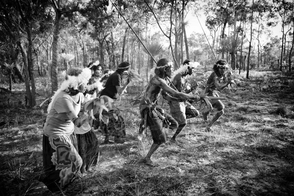 Enacting the songs and dances of Gaṉdjaḻaḻa the Sugar Bag Hunter at Dhupuwamirri